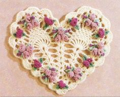 Crocheted Heart and Flowers  No pattern, but I think I can make it just by looking at the picture.