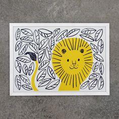 lisa jones studio, illustration of happy jungle lion in bright yellow frame Jungle Lion, Lion Wall Art, Lion Print, Mellow Yellow, Bright Yellow, Art Plastique, Elementary Art, Art Lessons, Art For Kids
