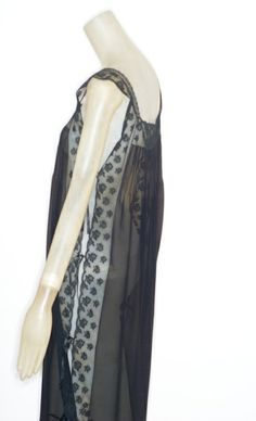 Sabbia Rosa Black Silk Chiffon Nightgown with Open Sides | From a collection of rare vintage lingerie at http://www.1stdibs.com/fashion/clothing/lingerie/
