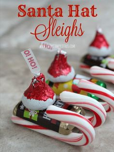 These easy candy Santa Hat Sleighs are perfect for neighbor gifts, teachers, or anyone! And they are so easy that little kids can help! What a simple DIY Christmas craft for kids! gift for teachers Candy Santa Hat Sleighs - Life With My Littles Christmas Candy Crafts, Candy Cane Crafts, Christmas Favors, Christmas Snacks, Homemade Christmas Gifts, Christmas Goodies, Christmas Fun, Christmas Decorations, Christmas Vacation