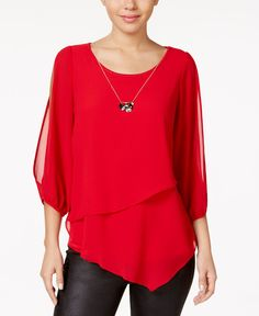 Bcx Juniors' Cold-Shoulder Tiered Blouse - Red S New Outfits, Girl Outfits, Fashion Outfits, Womens Fashion, Red Blouses, Blouses For Women, Smart Casual Wear, Blouse Online, Fashion Sewing