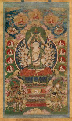 美国波士顿美术馆:16世纪<wbr><wbr>中国明朝<wbr><wbr>西藏风格绘画《千手观音》