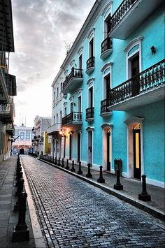 This is part of Old San Juan. I've been to Puerto Rico twice, and we still have family there. My mother's family (Leon) is from Puerto Rico. Beautiful beaches and Old San Juan is lovely! Places Around The World, Oh The Places You'll Go, Places To Travel, Places To Visit, Around The Worlds, Travel Destinations, Porto Rico, Beautiful Islands, Beautiful World