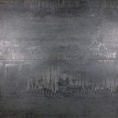 Angela Harris Inspira Dark 24x48 Porcelain Tile | Tilebar.com Outdoor Flooring, Outdoor Walls, Metallic Wall Tiles, Metallic Paint Walls, Gray Tiles, Angela Harris, Fireplace Wall, Fall Fireplace, Fireplace Remodel