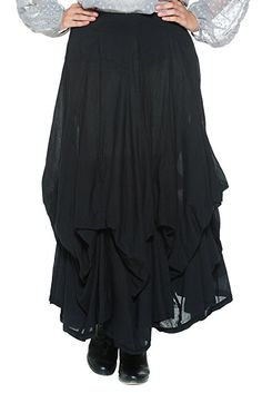 Women's Black Gypsy Bohemian Pirate Skirt by Rogue Finery
