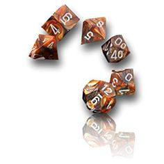 Custom & Unique {16MM Medium Size} 7 Ct Pack Set of [D4, D6, D8, D10, D12, D20] Opaque Playing & Game Dice w/ Shiny Swirled Fiery Flames Design for Role Playing RPG Dungeon & Dragon [Orange, Blue, Brown & White]