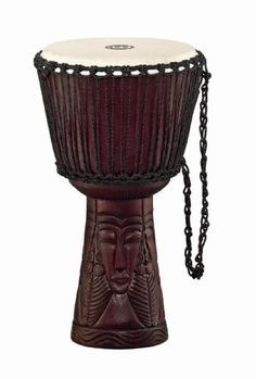 """Meinl Percussion PROADJ4-L Djembe - African Queen Carving by Meinl Percussion. $173.37. The new MEINL Professional African Djembe with """"village"""" carving is expertly formed from a solid piece of Mahogany Wood, and decoratively carved with a village scene. The hand-selected goatskin head is secured with the traditional Mali-weave tuning system.. Save 40% Off!"""