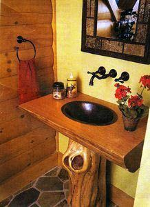 This custom pedestal sink built by carpenter Daryl Mathis of Pines Custom Cabinets would make a great addition to any bathroom. Unique Bathroom Sinks, Modern Bathroom, Bathroom Ideas, Downstairs Bathroom, Bathroom Vanities, Home Design, Design Ideas, Log Cabin Home Kits, Building A Cabin