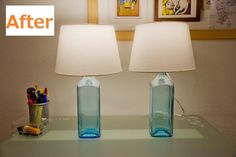 table lamps from Bombay Sapphire gin bottles. Bad link but I have to save the idea. Hubby can figure out the logistics for me <3