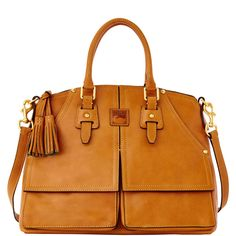 Supple Florentine leather has the look and feel of fine saddlery and, like saddle leather, it develops a rich patina over time. This satchel is one of Dooney & Bourke's original styles.  It speaks to our legacy of crafting and designing timeless, iconic shapes and features a variety of carrying options.