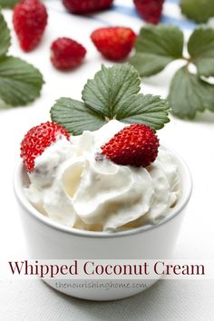 Whipped coconut cream is the perfect replacement for dairy-based whipped toppings, since it's just as smooth and light. Plus, it takes just minutes to whip up and adds a wonderful touch of creamy sweetness to your favorite desserts and beverages. Paleo Sweets, Paleo Dessert, Dessert Recipes, Bakery Recipes, Yummy Treats, Sweet Treats, Yummy Food, Healthy Treats, Healthy Baking