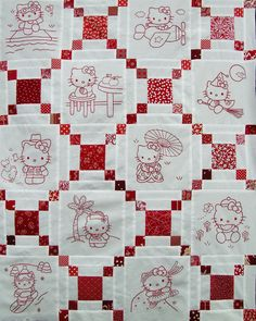 Hello Kitty Redwork Quilt Top Martha Dellasega Gray, 2008 hand embroidered, machine pieced 49″ x 63″