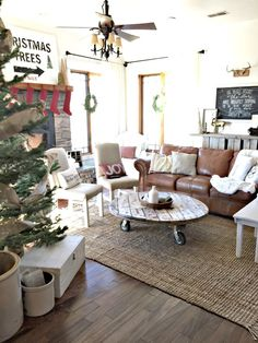 Brian likes a leather couch.Woodland Farmhouse Christmas space with Rugs USA's Maui Chunky Loop Jute! Decor, Christmas Home, Room, Rustic Farmhouse Living Room, Living Roon, Leather Couches Living Room, Couches Living Room, Cottage Living Rooms, Farmhouse Christmas