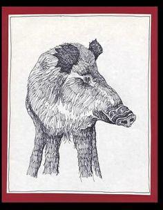 Pig - Pen Drawing:  hog, boar, animals.