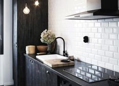 White Beveled Subway Tile Backsplash, Remodelista. A variation on the classic subway tile, the 3-by-6 inch Jeffrey Court Beveled Edge Pearl White Subway Tile is $4.99 per square foot at Home Depot. Photograph by Anna Kern for Skona Hem.