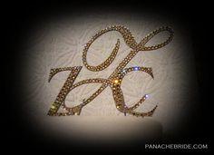 Monogram cake topper,  elegant wedding accessories. Gilts and glam wedding cake toppers.  www.panachebride.etsy.com
