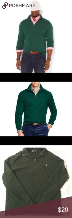 Polo Ralph Lauren Quarter Zip Sweater Size medium, like new Polo Ralph Lauren quarter zip sweater in dark green! Men's, but can also be worn by women! Make me an offer! Polo by Ralph Lauren Sweaters