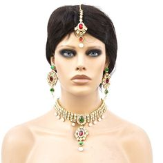 Bollywood Ethnic Patwa Bridal Necklace Chokar Set Dangle Earrings Maang Tika in Red Green Stones Pearl