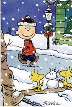 Peanuts Christmas Card: Charlie Brown Walks in Snow, Woodstock Builds Snowman