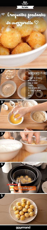 The best Mozzarella croquettes ! Tapas, No Salt Recipes, Cooking Recipes, Food Porn, Vol Au Vent, Salty Foods, Snacks Für Party, Diy Food, Food Inspiration