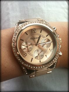 Rose gold watch with just the right amount of sparkle