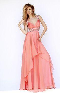 2015 Melon Sexy Back Sherri Hill 9728 Chiffon Prom Dress Prom Dresses 2016, Sherri Hill Prom Dresses, A Line Prom Dresses, Long Dresses, Formal Dresses, Women's Dresses, Beaded Prom Dress, Dress Prom, Party Dress