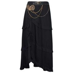Black Steampunk Skirt with Chain and Belt Detail