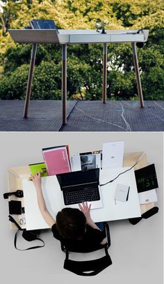 Awesome desk idea that's not yet in production. Anyone know if it can be made with Ikea parts?