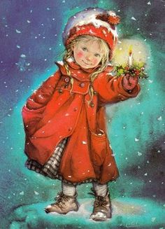 by Lisi Martin [snow, candle, red coat]