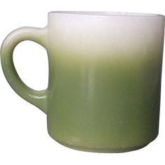 Hazel Atlas Dark Green Fade Milk Glass Mug