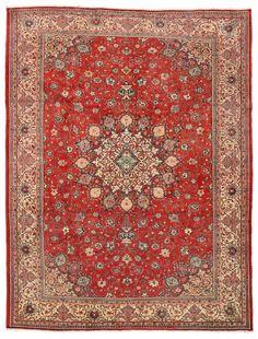"9'1"" x 12'4"" PERSIAN SAROUK Hand Knotted Wool RUST IVORY Oriental Rug Carpet #PersianSaroukFloral"