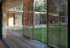 Modern House with Glass Atrium Sliding Door Shutters, Wooden Sliding Doors, Front Doors, Sliding Panels, Entry Doors, Indoor Outdoor, Outdoor Living, Patio Roof, Modern House Design