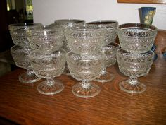 12- Vintage WEXFORD Sherbert/Custard dishes (Footed) Anchor Hocking- 1960s ((Price Reduced))