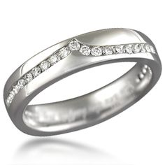 Diamond Wave Straight Wedding Band - This wedding band is the ring that compliments the Carved Wave engagement ring with a gentle wave of channel set diamonds. Ideal cut accent diamonds.