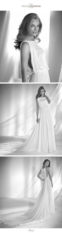 Spectacular and original flared wedding dress in charmeuse and tulle, fitted at the waist, with a bodice that creates a two-piece effect with fringe. A very special design that plays with the volumes and drape of the fabrics to give the design lots of movement.