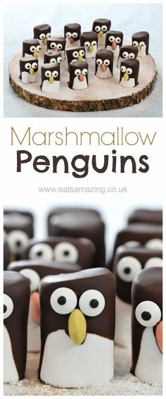 Easy marshmallow penguins - cute Christmas food idea for kids - they make great . Easy marshmallow penguins – cute Christmas food idea for kids – they make great party food treats – Eats Amazing Christmas Party Food, Xmas Food, Christmas Sweets, Christmas Cooking, Christmas Candy, Simple Christmas, Christmas Foods, Vegan Christmas, Christmas Cookies For Kids