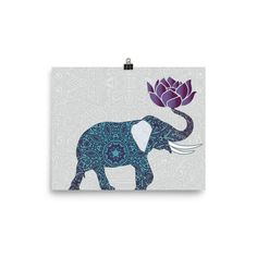 Elephant Poster Indian With Lotus Flower