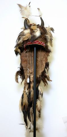 A women's ceremonial headdress from the Blackfeet tribe