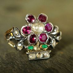 Fabulous #Victorian #giardinetti ring, set with emeralds, rubies and diamonds - c.1870. New in, so DM or email for the details and a pre-list price :)