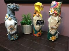 Garden Gnomes made from recycled wine bottles. These adorable guys are all handmade and unique with slight variations on all … Recycled Wine Bottles, Wine Bottle Crafts, Christmas Gnome, Christmas Tree Ornaments, Snowman Ornaments, Decoration Christmas, Halloween Decorations, Fall Crafts, Diy Crafts