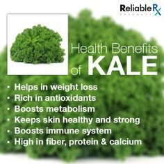 #HealthyKale Kale's health benefits are linked to the high concentration and excellent source of antioxidant vitamins A, C, and K.