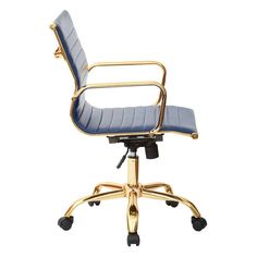 Featuring a padded faux leather seat and gold-finished frame, this stylish chair lends a loft-worthy touch to your office or study.