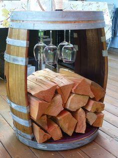 Fire Wood Holder $395.00 Firewood Holder, Fire Wood, Barrel, Wine, Crafts, Ideas, Home Decor, Manualidades, Decoration Home