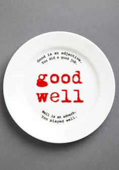 I want these so much! Learn Good Grammar during dinner! Gourmet Grammarian Plate Set, #ModCloth