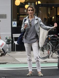 Seeing stripes: Keri Russell sported navy blue and white stripes on her shirt and jacket as she grabbed coffee in New York on Thursday