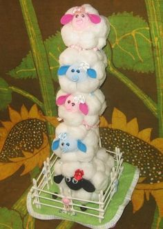 Diaper SHEEP - LAMB instructions. Don't be SHEEPISH great baby shower gift, diaper cake topper. $8.99, via Etsy.