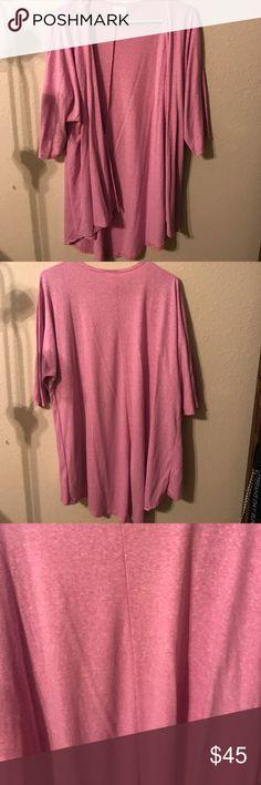 Heathered pink Lindsey from Lularoe Heathered pink Lindsay from lularoe. Brand new without tags, never worn. Super soft. Dog friendly home. LuLaRoe Sweaters Cardigans