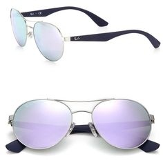 Ray-Ban Phantos 55MM Mirrored Metal Injected Aviator Sunglasses (€140) ❤ liked on Polyvore featuring accessories, eyewear, sunglasses, apparel & accessories, mirror aviators, ray ban sunglasses, mirrored lens sunglasses, mirrored aviators and aviator sunglasses