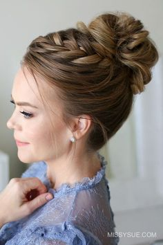 Fishtail French Braid High Bun Its officially the Christmas season so Im excited to be sharing a pretty updo that would be fun to wear to any holiday party. Last year I posted a similar style with a lace braid and you all seemed to love it so much that High Bun Hairstyles, Party Hairstyles, Wedding Hairstyles, Hairstyles 2016, Hairstyle Ideas, School Hairstyles, Modern Hairstyles, Hair Ideas, French Hairstyles