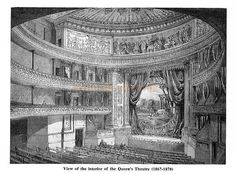 The auditorium and stage of the Queen's Theatre, Longacre - From the magazine 'Theatre World' published in February 1956.